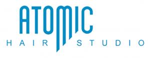 Atomic Hair Studio logo blue